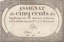 France 500 Livres - 20 Pluviôse l\'an 2eme de la République - Sign. Preux
