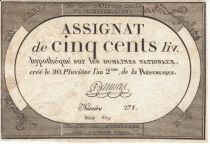 France 500 Livres 20 Pluviose An II - 8.2.1794 - Sign. Dumas