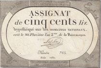 France 500 Livres 20 Pluviose An II - 8.2.1794 - Sign. Leclerc
