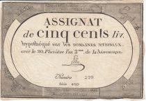 France 500 Livres 20 Pluviose An II - 8.2.1794 - Sign. Lehu