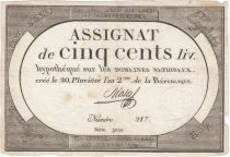 France 500 Livres 20 Pluviose An II - 8.2.1794 - Sign. Mala