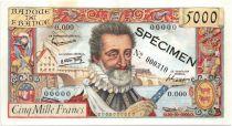 France 5000 Francs Henri IV - Spécimen - 1957
