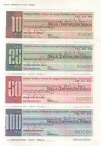 France Série 4 Spécimens Traveller-Check Banca Commerciale Italiana , 10.000, 25.000, 50.000 et 100.000 Lires