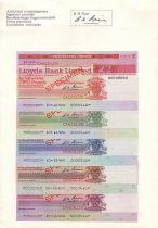 France Série 5 Traveller-Check Spécimens de la Lloyds Bank Limited , Angleterre Contient 2, 5, 10, 20 et 50 £, présenté dans sa