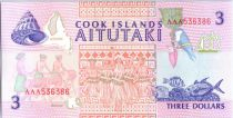 Iles Cook 3 Dollars Pélerins, église - Danseurs et poissons -1992