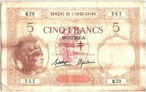 Nouvelles Hébrides 5 Francs Walhain surchargé France Libre - 1941