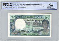 Nouvelles Hébrides 500 Francs Polynésien - Pirogue - 1970 alph A.1 - PCGS UNC 64