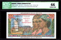 Réunion 500 Francs Pointe-À-Pitre - Surchargé 10 NF - 1971 - ICG UNC66