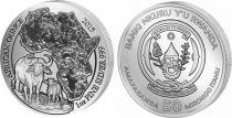 Rwanda 50 Francs Carte Afrique, buffles - Once Argent 2015