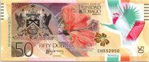 Trinidad et Tobago 50 Dollars Oiseaux - 50 ans de la Banque Centrale - Polymer - 2015