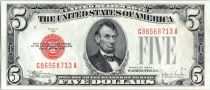 United States of America 5 Dollars Lincoln - 1928 E Red Seal