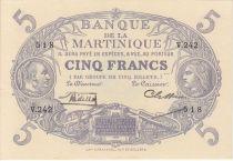 Martinica 5 Francs Cabasson - Purple - 1934 Serial V.242