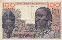 100 Francs 1957 mask - AOF & Togo - Serial W.45