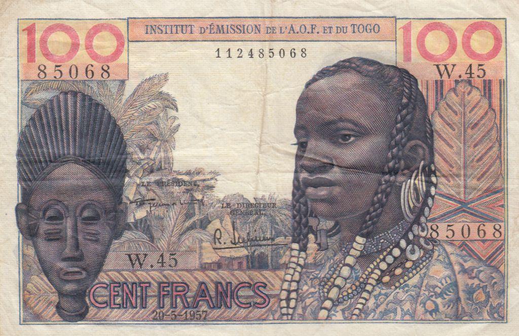 100 Francs 1957 masque - AOF & Togo -  Série W.45