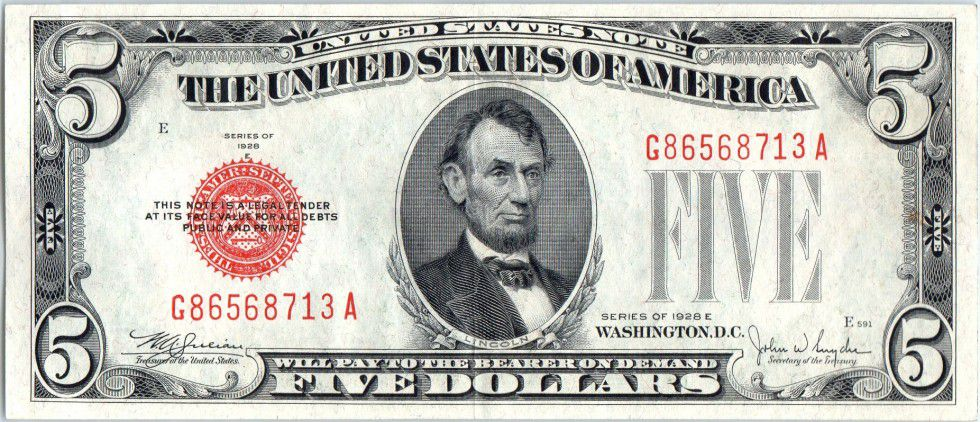 5 Dollars Lincoln - 1928 E Red Seal