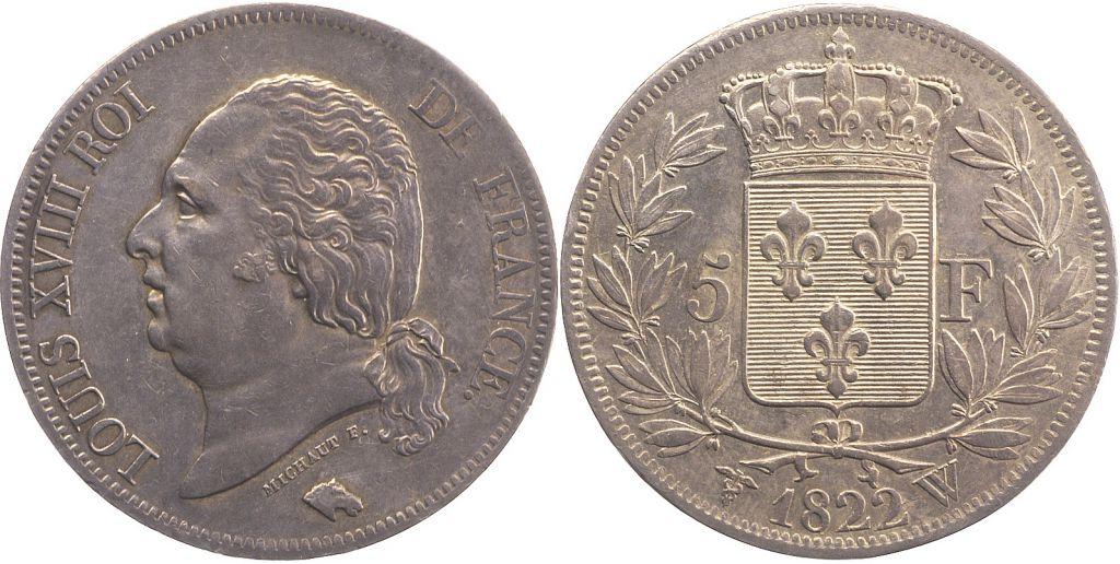 5 Francs Louis XVIII Buste nu - 1822 W