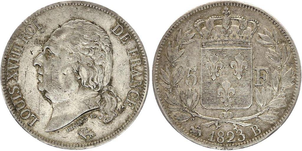5 Francs Louis XVIII Buste nu - 1823 B