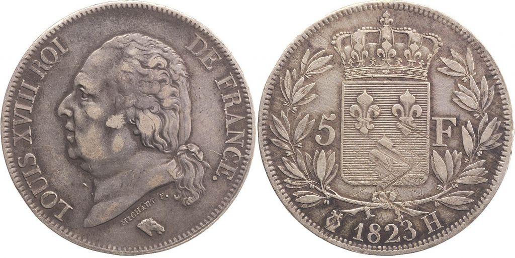 5 Francs Louis XVIII Buste nu - 1823 H La Rochelle