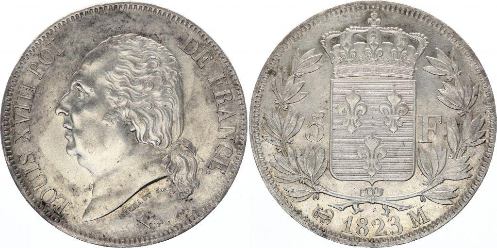 5 Francs Louis XVIII Buste nu - 1823 M Toulouse