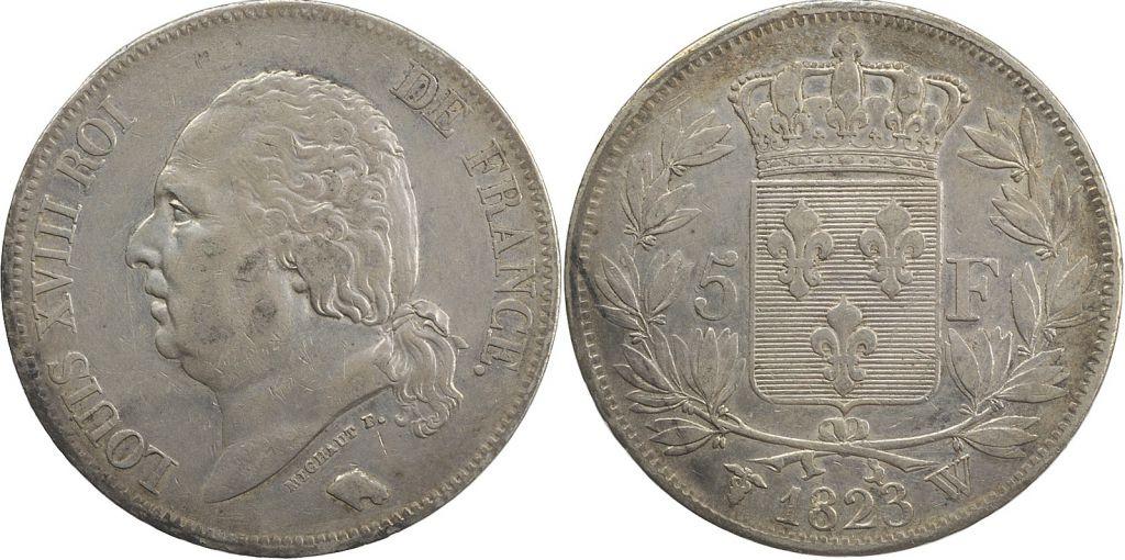 5 Francs Louis XVIII Buste nu - 1823 W Lille