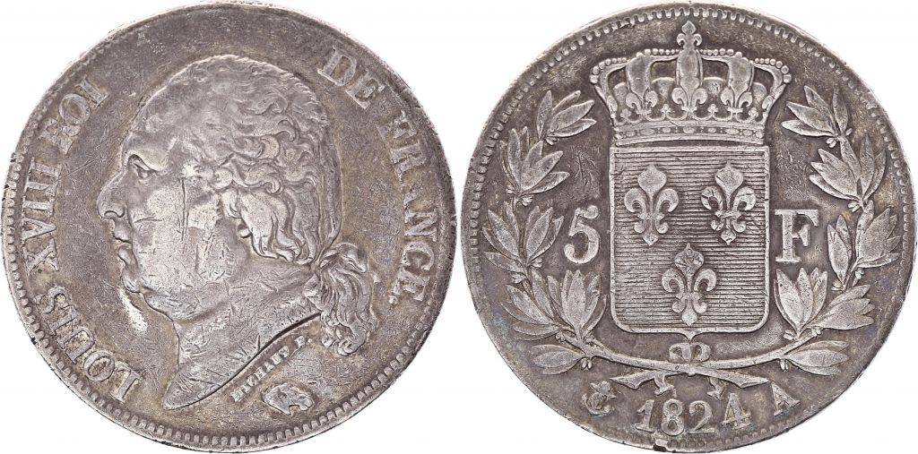 5 Francs Louis XVIII Buste nu - 1824 A Paris
