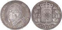 5 Francs Louis XVIII Buste nu - 1824 A Paris