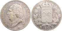 5 Francs Louis XVIII King of France - 1823 A Paris