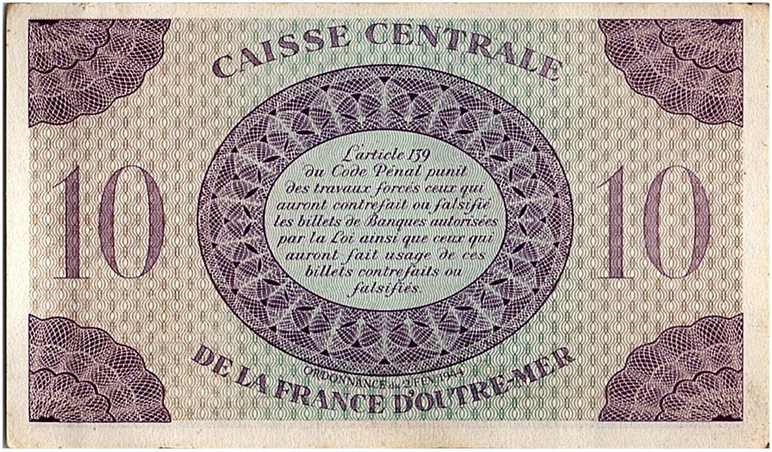 AEF 10 Francs 1944 - Marianne , croix de Lorraine - FH488.825