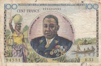 AEF 100 Francs Félix Eboué ND1957 - Serial E.13