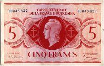 AEF 5 Francs 1944 - Marianne , croix de Lorraine - BB043.837
