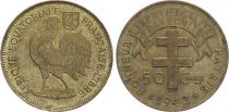 AEF 50 Centimes -  Cross of Lorraine - Rooster - 1942 - VF