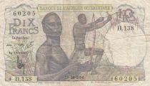 África del oeste francesa 10 Francs 1954 - Hunters - Serial B.138