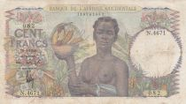 África del oeste francesa 100 Francs 1948 - Woman with fruits, family - Serial N.4671