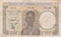 África del oeste francesa 25 Francs 1943 - Woman, Man with a cow - Serial M.530