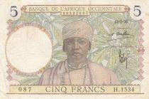 África del oeste francesa 5 Francs 1936 - Man, Weaver - Serial H.1534