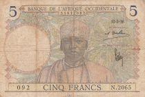 África del oeste francesa 5 Francs 1936 - Man, Weaver - Serial N.2065