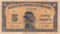 África del oeste francesa 5 Francs 1942 - Woman\'s head - Serial E