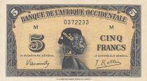 África del oeste francesa 5 Francs 1942 - Woman\'s head - Serial M