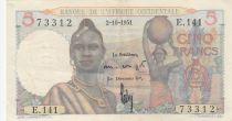 África del oeste francesa 5 Francs 1943 - Woman, boats on river - Serial E.141