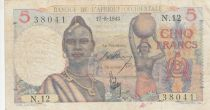 África del oeste francesa 5 Francs 1943 - Woman, boats on river - Serial N.12