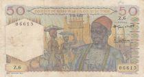 África del oeste francesa 50 Francs 1955 - Old man, bananas plantation - Serial H.6