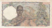 Africa dell\'ovest francese 1000 Francs 1951 - Woman with jars, Deers, Village scene
