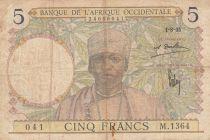 Africa dell\'ovest francese 5 Francs 1935 - Man, Weaver - Serial M.1364
