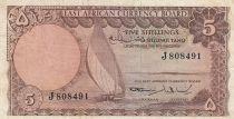 Afrique de l\'Est Britannique 5 Shillings Bateau - 1964 - P.45a - TTB