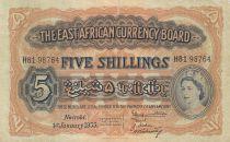 Afrique de l\'Est Britannique 5 Shillings EliSabeth II - Lion - 1954 - P.33 - TTB