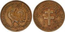 Afrique Equatoriale Française 1 Franc Croix de Lorraine - Coq - 1943  2e ex