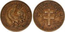 Afrique Equatoriale Française 1 Franc Croix de Lorraine - Coq - 1943