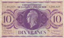 Afrique Equatoriale Française 10 Francs 1944 - France libre, croix de Lorraine - Sans lettre de série