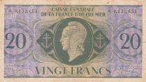 Afrique Equatoriale Française 20 Francs Marianne 1944 - Série A 0.132.653 - P.17d - TB+