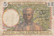 Afrique Equatoriale Française 5 Francs 1941 - Femme, tissage - Série A/17